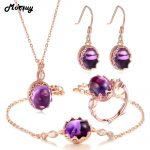 MoBuy 5pcs Amethyst Natural Gemstone 4pcs Jewelry Sets 100% 925 Sterling <b>Silver</b> Vintage Style Fine Jewelry For Women V031EHNR