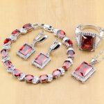 Red Zircon White CZ Sterling <b>Silver</b> Jewelry Sets For Women Wedding Earrings/Pendant/Necklace/Rings/<b>Bracelet</b> T122