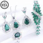 Green Zirconia Bridal Jewelry Sets 925 Sterling <b>Silver</b> Wedding Women Jewelry Earrings Ring <b>Bracelet</b> Necklace Set Gift Box