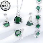 925 Silver Costume Bridal <b>Jewelry</b> Sets Women Green Zircon Bracelets <b>Necklaces</b> Pendants Earrings With Stones Rings Set Gift Box