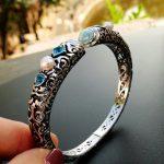 Fine Women Jewelry High Quality Natural Larimar <b>Bracelet</b> Nice Larimar Bangle 100% 925 Sterling <b>Silver</b> Open Bangle as women Gift