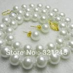 Charming Diy <b>jewelry</b> <b>Making</b> 10mm White Shell Simulated-Pearl Round Beads Necklace 18inch about 43pcs/strand Earring Set MY2000