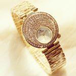 New Arrival Famous Brand Bling Watch Women Luxury Moon Crystals Watch <b>Silver</b> Shinning Diamond Rhinestone Bangle <b>Bracelet</b>
