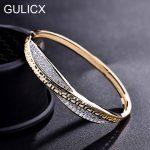 GULICX 2017 luxury Twisted Hand Bangle for Women Gold-color Bracelet White Cubic Zirconia Wedding <b>Jewelry</b> Z039