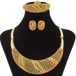 Wholesale African Beads <b>Jewelry</b> Sets Dubai <b>Jewelry</b> Set Gold Wheat Charms Fashion Women Big <b>Necklace</b> Earrings Choker Wedding Gift