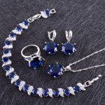 Blue Cubic Zirconia 925 Sterling Silver <b>Jewelry</b> Sets For Women Sliver Earrings/Pendant/<b>Necklace</b>/Rings/Bracelets