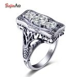 Szjinao Classic Luxury Real Solid 925 Sterling <b>Silver</b> Ring Round Simulate Diamond Wedding <b>Jewelry</b> Rings Engagement For Women