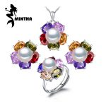 MINTHA 925 Sterling <b>Silver</b> natural Pearl ruby jewelry sets for women,vintage accessories long <b>earrings</b>,wedding jewelry sets