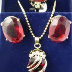 Natural Prett Lovely Women's Wedding Red Cubic Zirconia Crystal Yellow Pendant Necklace Earrings Ring Set 5.23 silver-<b>jewelry</b>
