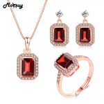MoBuy Vintage Natural Gemstone 3pcs Jewelry Sets For Women Wedding 100% 925 Sterling <b>Silver</b> Fine Garnet Jewelry V011ENR