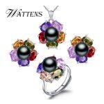 WATTENS fashion retro pearl <b>Jewelry</b> Sets for women,925 <b>sterling</b> <b>silver</b> Wedding Suit <b>jewelry</b> sets Flowers Geometry sets,gift box