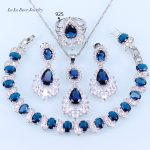 L&B Blue Crystal White Zircon AAA Quality 925 <b>Silver</b> <b>Bracelet</b> Jewelry Sets For Women Classy Wedding Jewelry Sets For Women