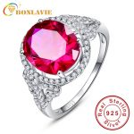 BONLAVIE New Arrival 925 Sterling <b>Silver</b> Rose Red Oval Pigeon Women Rings Female Ring Size 6 7 8 9 Fashion Brand Ruby <b>Jewelry</b>