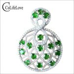 New fashion 925 <b>silver</b> russian emerald pendant real sterling <b>silver</b> pendant <b>necklace</b> 2mm round natural chrome diopside pendant