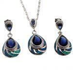 Fire Australian Opal Jewelry Set 925 Sterling <b>Silver</b> <b>Earrings</b> Pendant Necklace Set Modern Beauty Women Gift