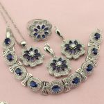 Women Blue Cubic Zirconia <b>Silver</b> Color Wedding Jewelry Sets Earrings Necklace Four Colors Stone Ring <b>Bracelet</b> Free Jewellry Box
