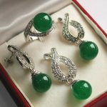 Women's Hot! high qulity new <b>jewelry</b> silver plated + 12mm green gem bread pendant, earring, , ring set real silver-<b>jewelry</b>