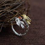FNJ 925 Sterling Silver Ring <b>handmade</b> Bird anillos lapis lazuli Red Stone S925 Thai Silver Rings women <b>Jewelry</b> Men