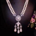SHANICE Big DIY Luxury Pearls Chandelier Necklace Making Finding <b>Supplies</b> Paved Zircon Connector Suspension Pendants Accessories