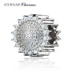 ATHENAIE 925 Sterling <b>Silver</b> Pave Clear CZ Sunflower Charm Bead Fit Original European Charms Bracelets and <b>Necklace</b>