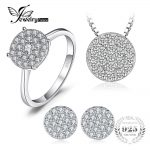 JewelryPalace 1.2ct Cubic Zirconia Pendant Necklace Stud <b>Earrings</b> Ring Jewelry Sets 925 Sterling <b>Silver</b> 45mm Gift Free Shipping
