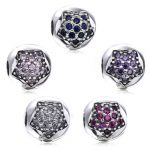 High Quality 925 Sterling Silver Pentagram Pave CZ Clip Beads Fit Original DIY PAN Bracelet Charm Beads for <b>Jewelry</b> <b>Making</b>