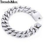 Trendsmax Curb Cuban Link Bracelet Mens Bracelet 316L Stainless Steel <b>Fashion</b> <b>Jewelry</b> Silver Tone 18mm KHB471