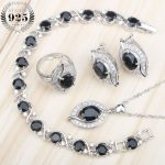 New Silver 925 Women Bridal <b>Jewelry</b> Sets Black Zircon <b>Wedding</b> Bracelets Earrings Rings With Stones Pendant Necklace Gift Box