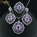 Pera CZ Elegant Design Big Square Austria Crystal Stone Purple 3 Piece 925 Sterling <b>Silver</b> Jewelry Sets For Women Gift J164