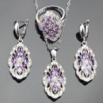 Purple Zircon Silver 925 Costume Bridal <b>Jewelry</b> Sets Women Necklace Pendant Rings Earrings With Stones Set Jewelery Gift Box