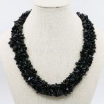 Natural Black Irregular Onyx Beads 3Rows Necklace Chain Women <b>Jewelry</b> <b>Making</b> Girls Party Gifts 18inch Lucky Natural Stone Gems