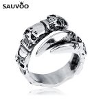 Sauvoo Vintage Skull Rings Stainless Steel <b>Antique</b> Silver Color Skeleton Claw Biker Ring for Men Punk <b>Jewelry</b> Accessories Gifts