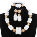 White Crystal Beaded Women <b>Jewelry</b> Set <b>Handmade</b> White African Beads <b>Jewelry</b> Set Fashion Party Necklace Jewellery 2018 WE169
