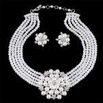 Fashion Luxury Tiara Bridal Necklace And Earrings Set Sprkling Rhinestone Pearl <b>Handmade</b> Wedding <b>Jewelry</b> Set Parting Gifts