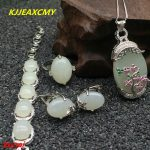 KJJEAXCMY boutique jewels 925 <b>silver</b> inlaid with natural white jade medullary lady's pendant ring finger bracelet 4 pieces for n
