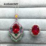 KJJEAXCMY Fine jewelry, 925 Sterling <b>Silver</b> Thailand red jade girl set, luxury generous wholesale