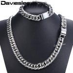Davieslee Hip Hop Iced Out Paved Rhinestones Cuban Chain Men's Necklace <b>Bracelet</b> 316L Stainless Steel Gold <b>Silver</b> 16mm DHSM04