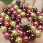 New fashion women charming 8mm 18inch multicolor shell simulated-pearl round beads necklace hot sale <b>jewelry</b> <b>making</b> MY2016