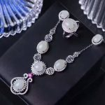 Natural white jade gem jewelry sets natural gemstone ring Necklace <b>earrings</b> 925 <b>silver</b> Exquisite round women party fine jewelry