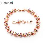LUOTEEMI New Fashion DesignRose Gold-Color Multi AAA CZ Lucky Flower Bracelet Bangles Women Luxury Wedding <b>Accessories</b> <b>Jewelry</b>