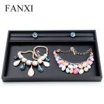 FANXI Multifunctional Black PU Leather Stackable Tray Ring/<b>Necklace</b>/Pendant/Bracelet/Bangle Display <b>Jewelry</b> Holder Organizer