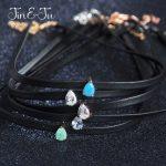 Jin&Ju <b>Jewelry</b> 925 Sterling Silver Women Girl <b>Jewelry</b> Simple 5 Design Water Drop Leather Chokers <b>Necklaces</b>