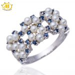 Hutang Natural Freshwater Pearl and Blue Sapphire Solid Sterling <b>Silver</b> 925 Ring Women's Fine <b>Jewelry</b> Anniversary Gift