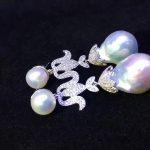 baroque natural fresh water pearl drop earring 925 <b>sterling</b> <b>silver</b> with cubic zircon fashion women <b>jewelry</b> free shipping