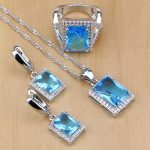 Ethnic 925 Sterling Silver <b>Jewelry</b> Sky Blue Zircon White Crystal <b>Jewelry</b> Sets For Women Earring/Pendant/Necklace/Ring