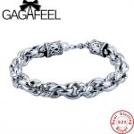 GAGAFEEL Genuine Sterling <b>Silver</b> Jewelry Men <b>bracelet</b> 100% Real Pure 925 Thai <b>Silver</b> Men Punk Chain 16-22CM S Clasp For Friends