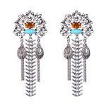 Women Fashion <b>Jewelry</b> Vintage Pierced Earrings <b>Antique</b> Silver Color Colorful Long Tassel Fan Earrings Accessory