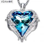 Veamor Angel Wings Pendant <b>Necklaces</b> Blue Crystal Heart <b>Necklace</b> For Women Christmas <b>Jewelry</b> Original Crystals From Austria