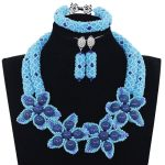 Latest Blue African Beads <b>Jewelry</b> Sets <b>Handmade</b> Flowers Women Wedding <b>Jewelry</b> sets For Party Bridesmaid Gift Free Shipping WE136