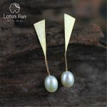 Lotus Fun Real 925 Sterling <b>Silver</b> Natural Pearl Creative Handmade Fine Jewelry Special Triangle Drop <b>Earrings</b> for Women Brincos